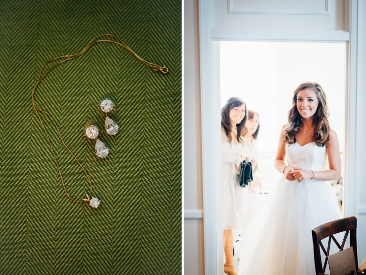 bride's wedding jewelry, bride walks out after putting on wedding dress