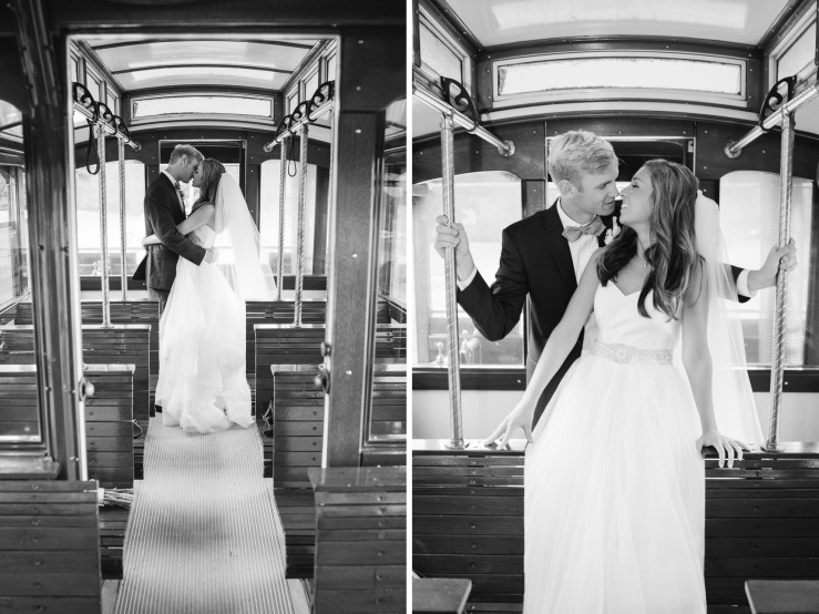 St Johns Church, Wedding Ceremony, Charlotte NC Wedding, wedding photography, wedding ceremony, bridesmaid and groomsmen, just married, newlyweds on trolley