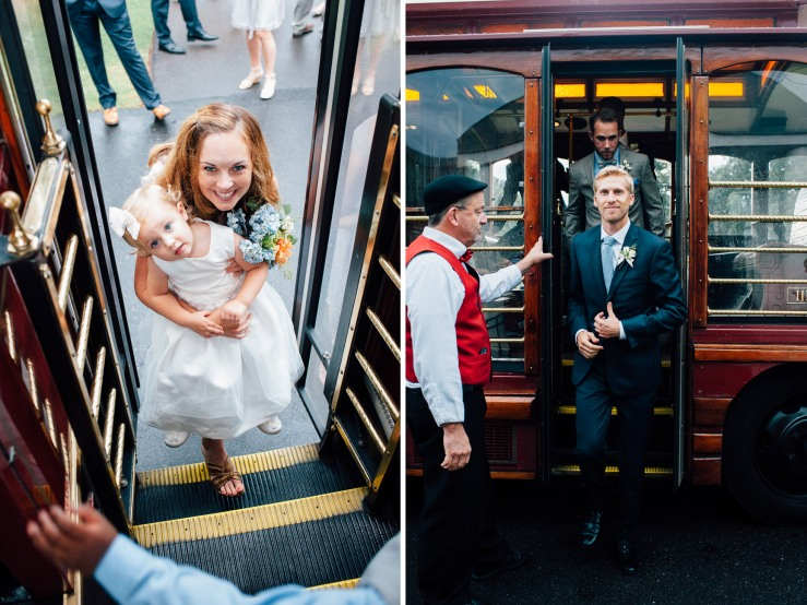 St Johns Church, Wedding Ceremony, Charlotte NC Wedding, wedding photography, wedding ceremony, bridesmaid and groomsmen on trolley