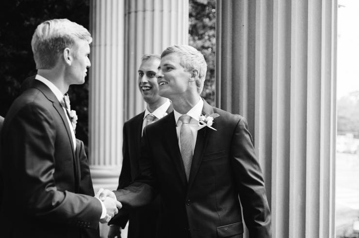 St Johns Church, Wedding Ceremony, Charlotte NC Wedding, wedding photography, groomsmen shake hands