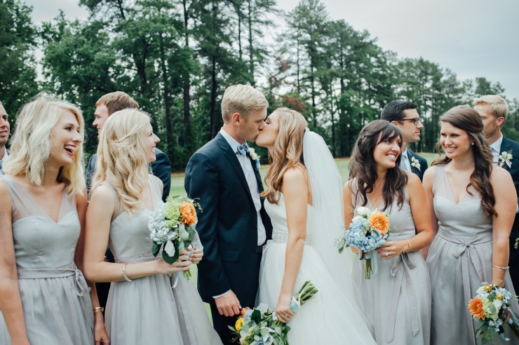 St Johns Church, Wedding Ceremony, Charlotte NC Wedding, wedding photography, wedding ceremony, bridesmaid and groomsmen celebrate with newlyweds