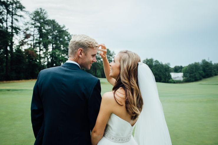 St Johns Church, Wedding Ceremony, Charlotte NC Wedding, wedding photography, wedding ceremony, bridesmaid and groomsmen, just married, newlyweds walk on golf course