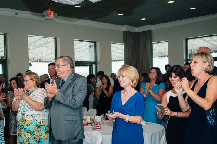 Carolina Golf Club, Wedding Reception, Charlotte NC Wedding, wedding photography, guests clap for introduction of newlyweds