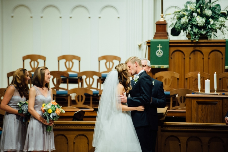 St Johns Church, Wedding Ceremony, Charlotte NC Wedding, wedding photography, wedding ceremony, first kiss