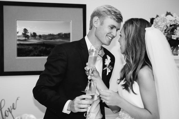 Carolina Golf Club, Wedding Reception, Charlotte NC Wedding, wedding photography, cake cutting, champagne toast