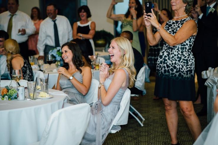 Carolina Golf Club, Wedding Reception, Charlotte NC Wedding, wedding photography, cheering guests at reception
