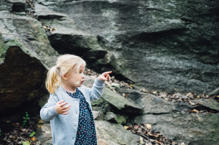 Image of young girl pointing at a waterfall during family photo shoot