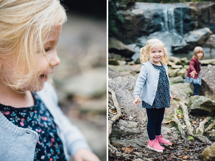 Image of young girl playing during a family photo shoot in a Greenville SC park