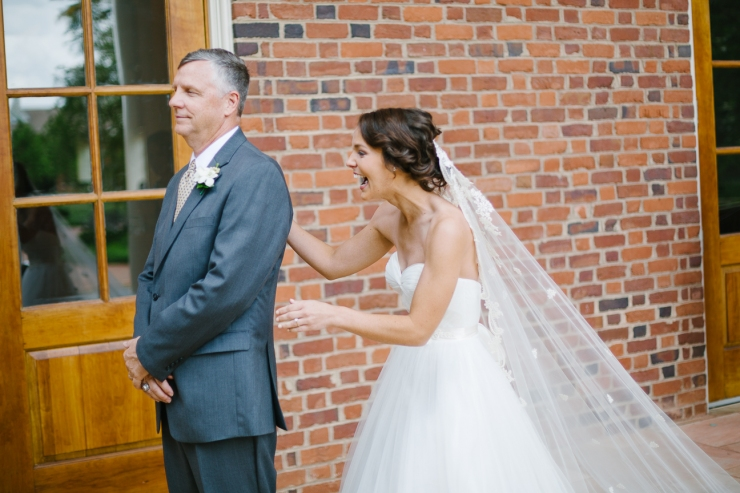 bride sees her father for first time in wedding dress, father first look, natural light photography, Furman chapel, Furman wedding, greenville wedding photography