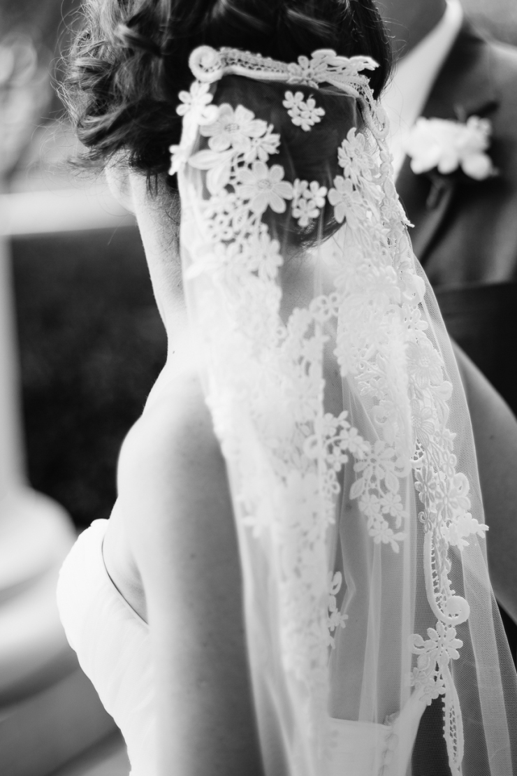 bride's heirloom veil from her mother, details, black and white portraits, greenville sc wedding photographer, furman wedding, greenville wedding photography