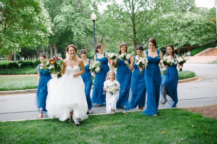 bridesmaids walk with bride through Furman courtyard, Furman chapel, Furman wedding, greenville wedding photography