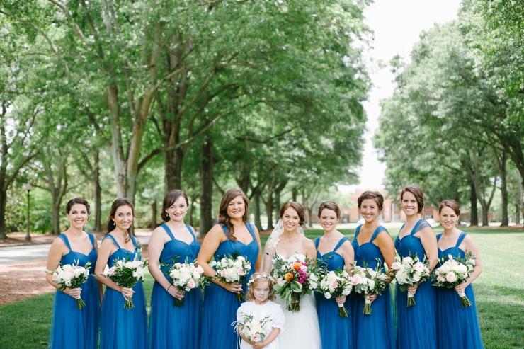 bridesmaids portraits on Furman courtyard, Furman chapel, Furman wedding, greenville wedding photography