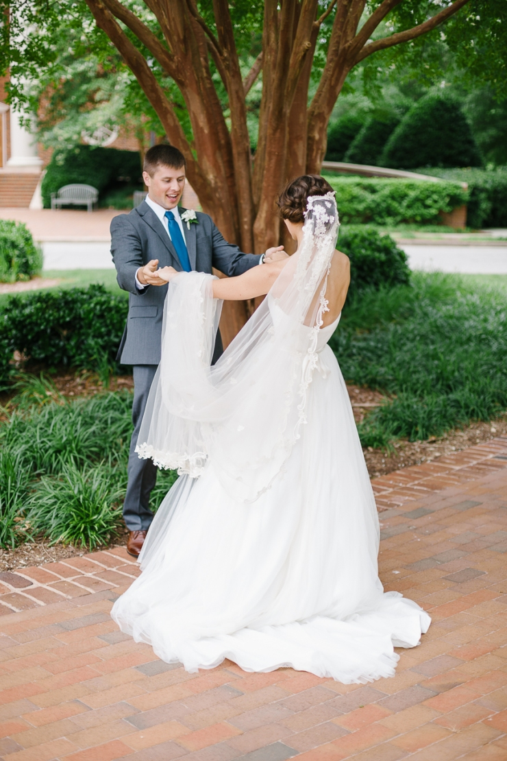 Bride and groom's first look at Furman Chapel, Furman chapel, Furman wedding, greenville wedding photography
