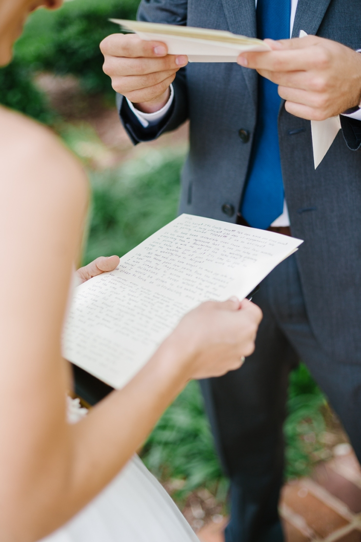 emotional Bride reads note from Groom on wedding day, Furman chapel, Furman wedding, greenville wedding photography