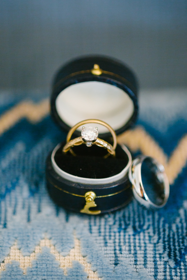 gold engagement ring and wedding bands