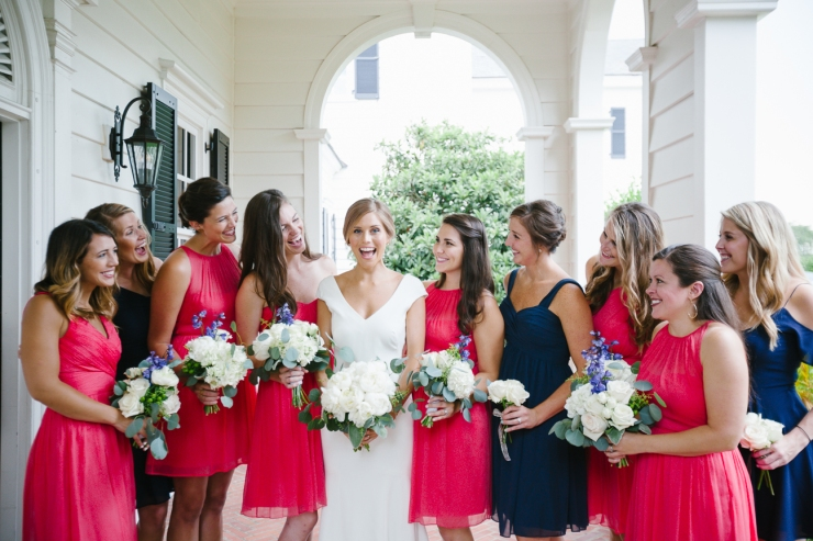bride with bridesmaids during Myrtle Beach country club wedding