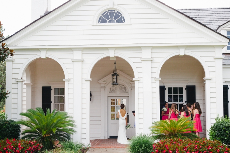 bride and bridesmaids during Myrtle Beach country club wedding
