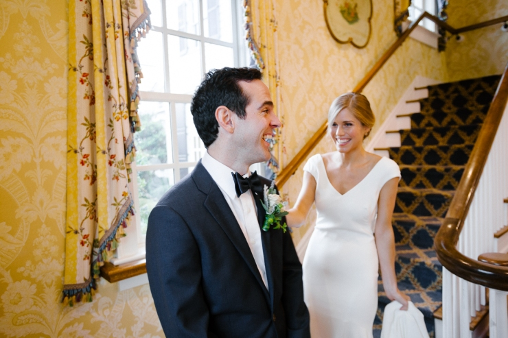 Bride and Groom's first look at Pine Lakes Country Club
