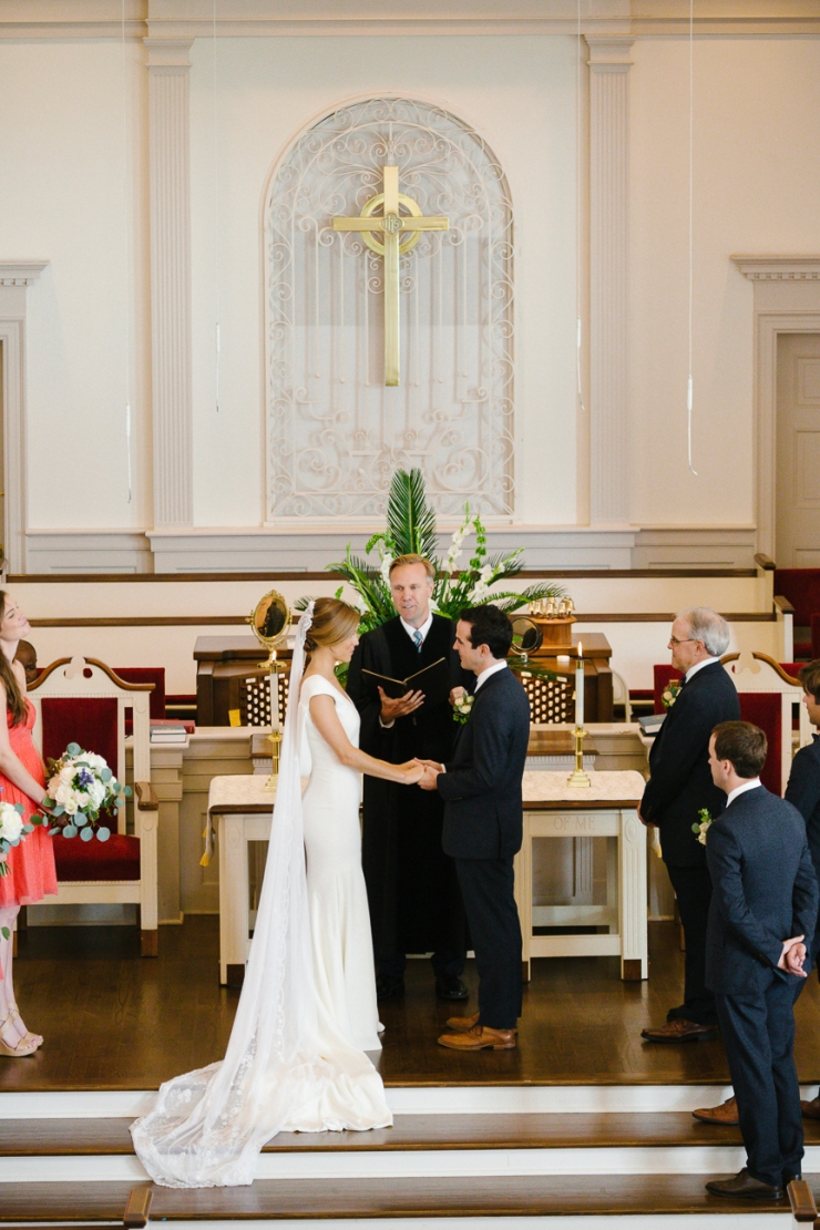 Bride and Groom exchange vows during ceremony at Myrtle Beach Presbyterian Church