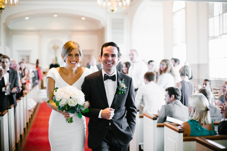 Bride and Groom recess after their ceremony at Myrtle Beach Presbyterian Church