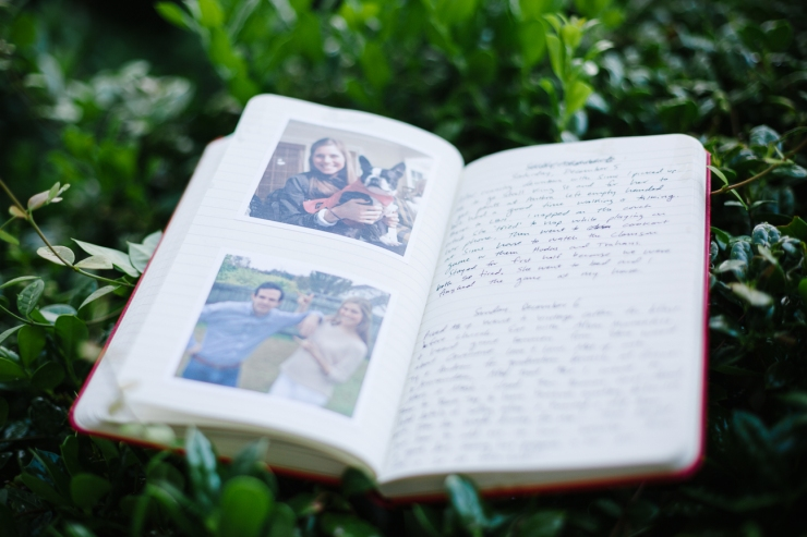 journal gift from groom to bride on wedding day, first look gift