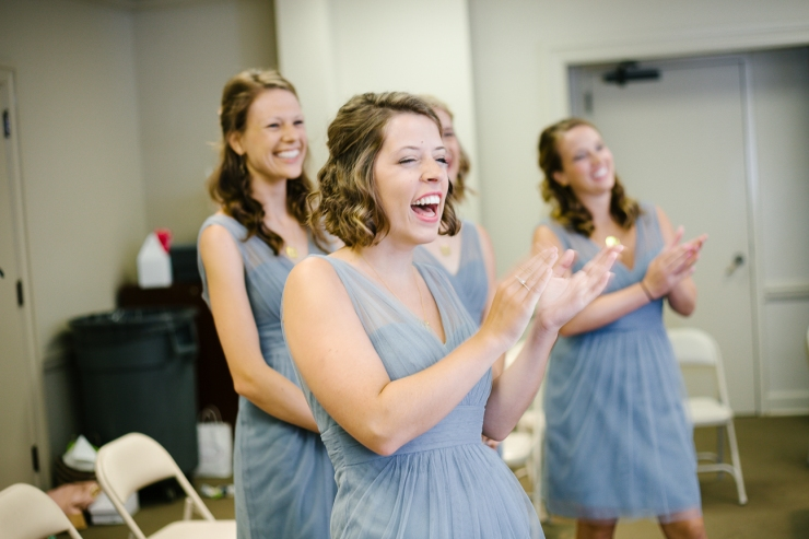 bridesmaids react to bride in wedding dress in TN