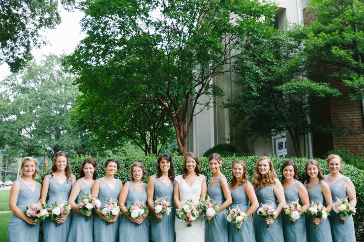 bridesmaids lined up in front of church, memphis tn