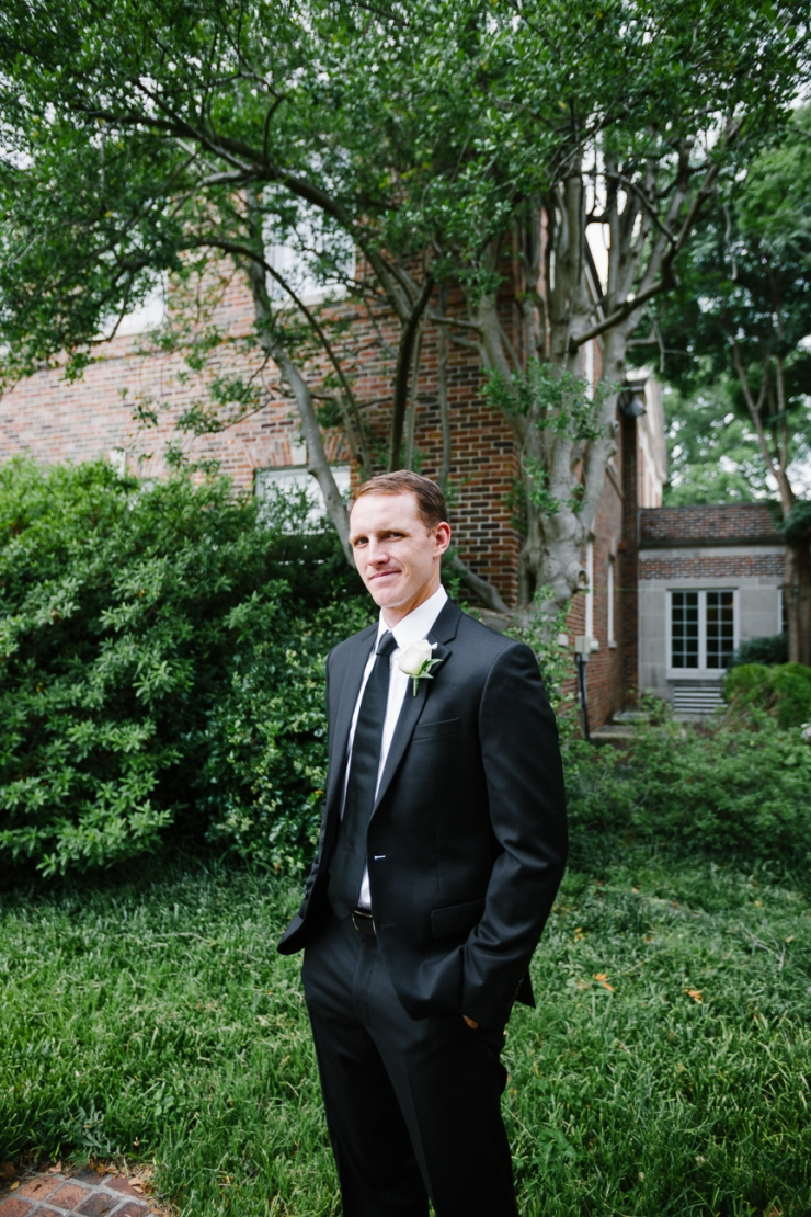 groom's wedding day portrait outside church, Memphis TN