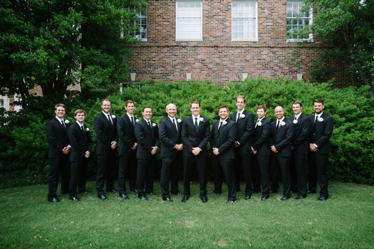 groomsmen lined up outside church, memphis TN