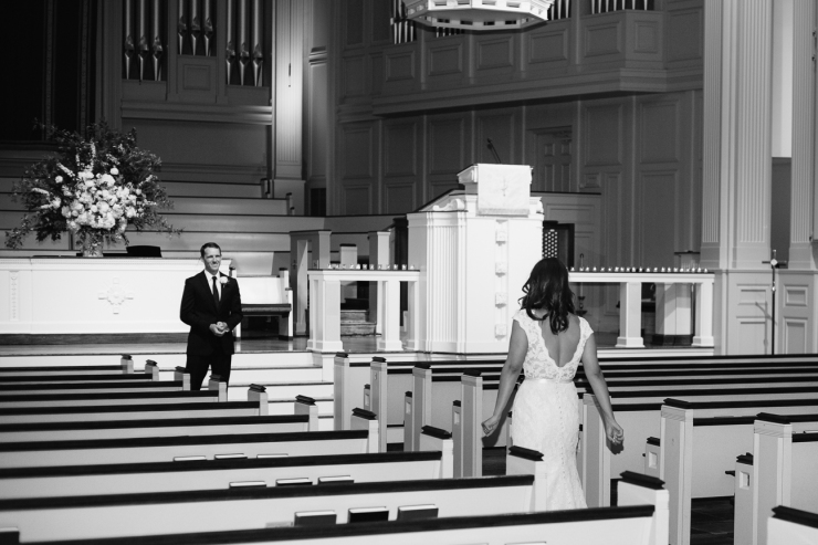 bride and groom first look at church in Memphis, TN