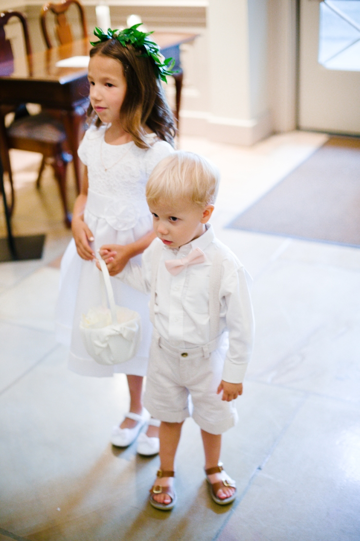flower girl and ring bearer walk down aisle of church, Memphis TN