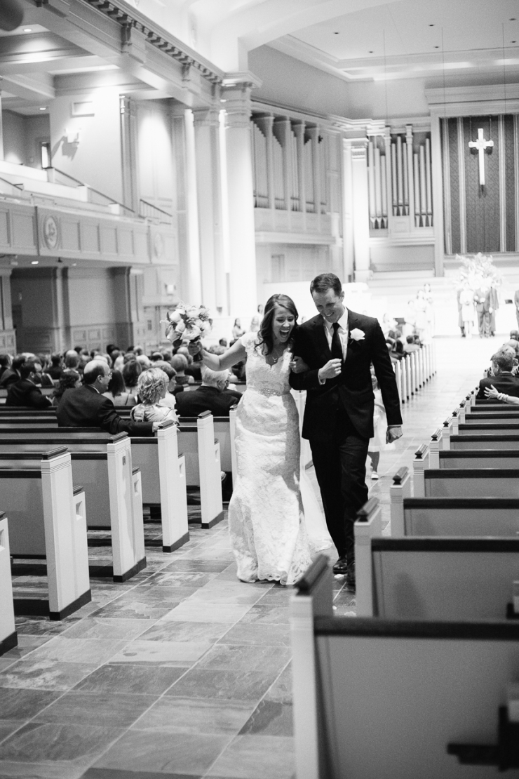 bride and groom recessional after Memphis TN ceremony