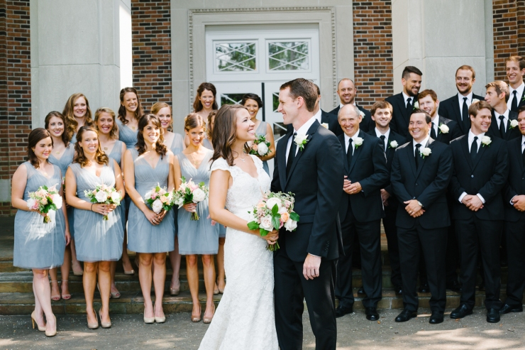 wedding party celebrates newlyweds at Second Presbyterian Church, Memphis TN