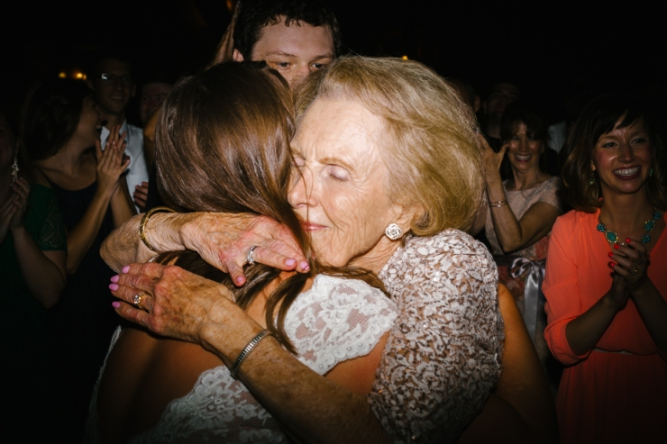 Bride and her grandmother hug at Memphis TN wedding reception