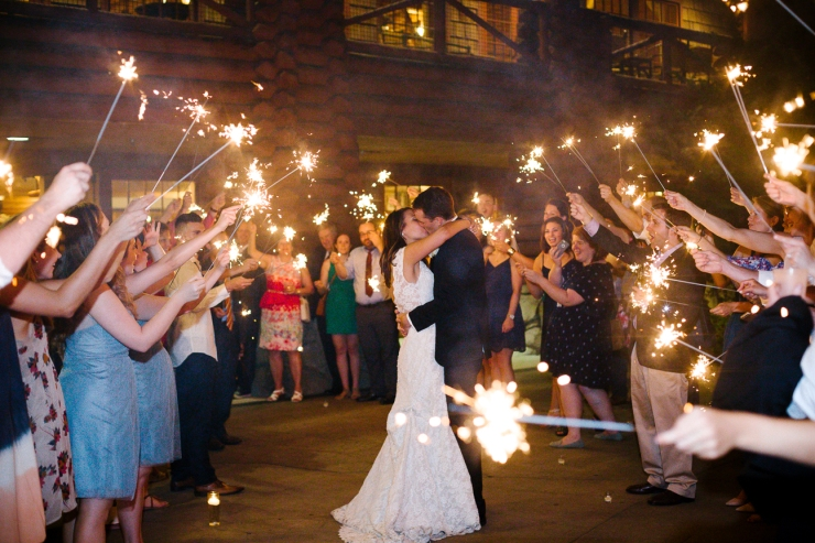 bride and groom kiss during their sparkler departure from Memphis zoo reception