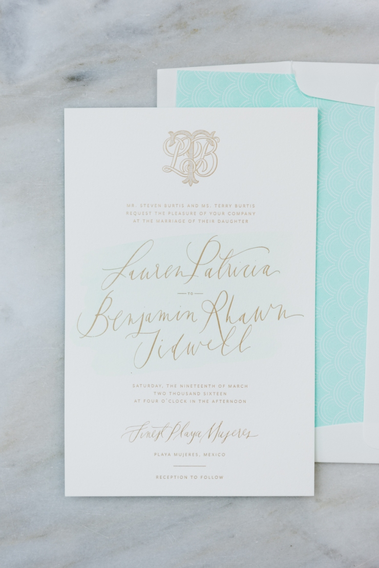 wedding invitation suite, letter pressed invitation, paper, calligraphy, mint, gray and gold