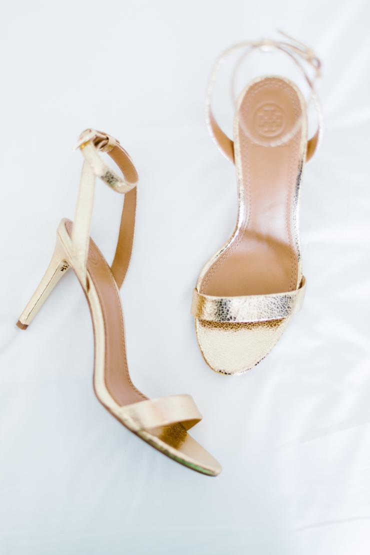 gold Tory Burch wedding day heels, shoes, Mexico destination wedding