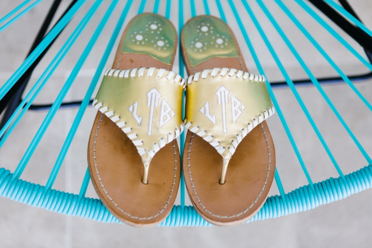 brides monogrammed gold Jack Roger's sandals for Mexico wedding
