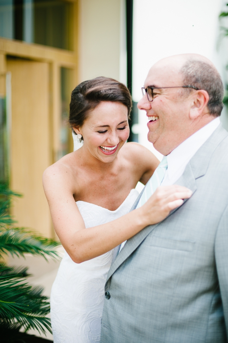 emotional bride sees her father for the first time on her wedding day in Mexico