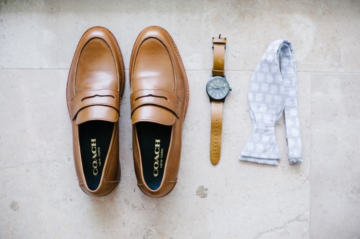 groom's shoes, watch, and custom monogrammed bowtie, groom's details