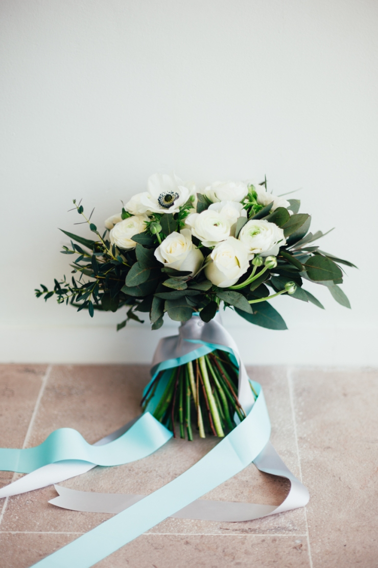 brides bouquet with mint and gray ribbon, ranunculus, peony, david austin roses