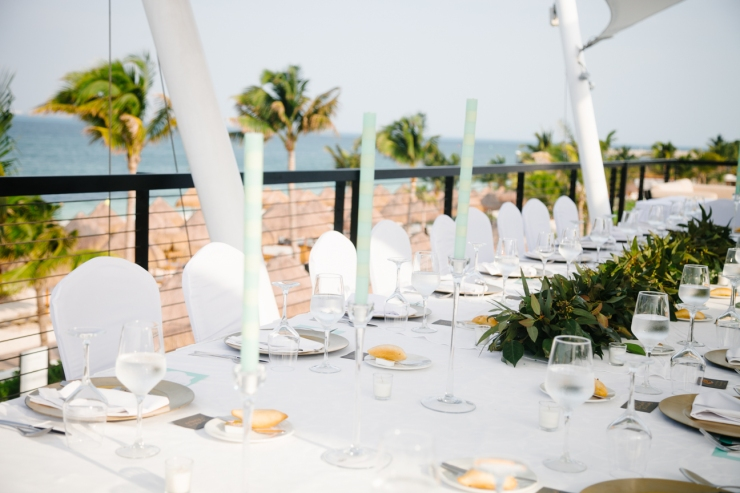 rooftop reception with table scape at The Finest Resort in Mexico