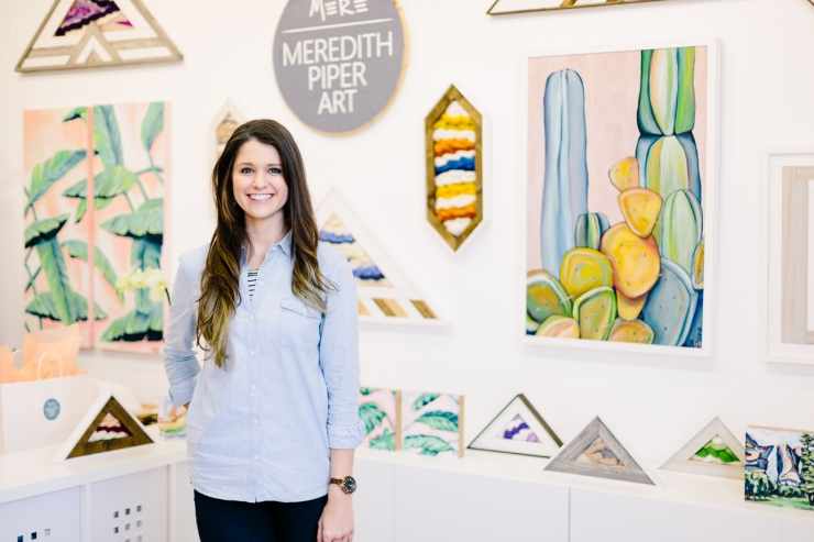 Meredith Piper in artists studio, Greenville SC artist, painter, textile art, weavings