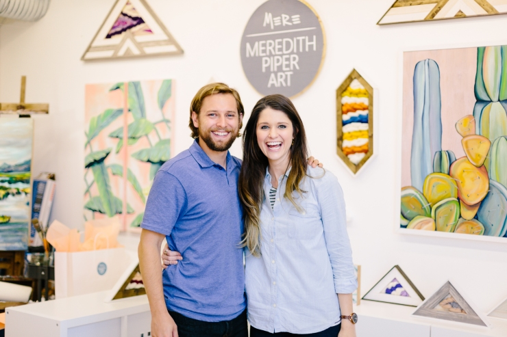 Meredith Piper and husband in art studio, Greenville SC