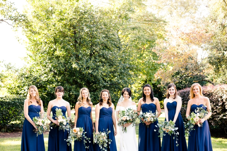 bride and bridesmaids portraits, memphis tn wedding