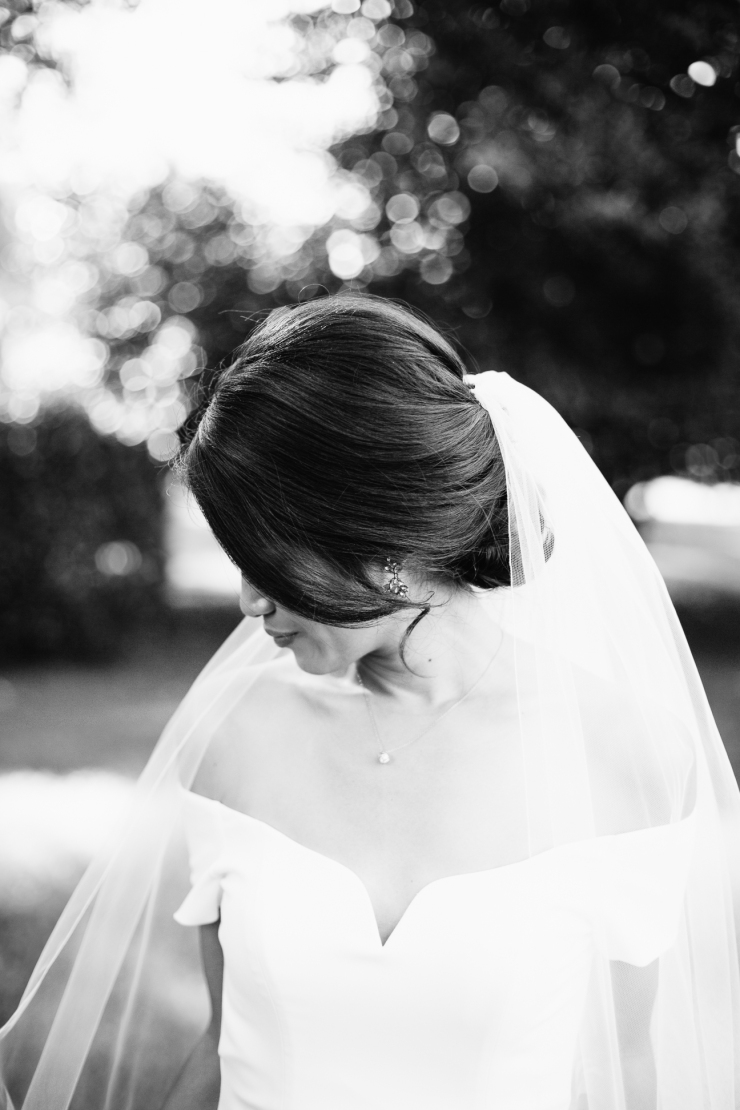 black and white bridal portrait, memphis tn wedding