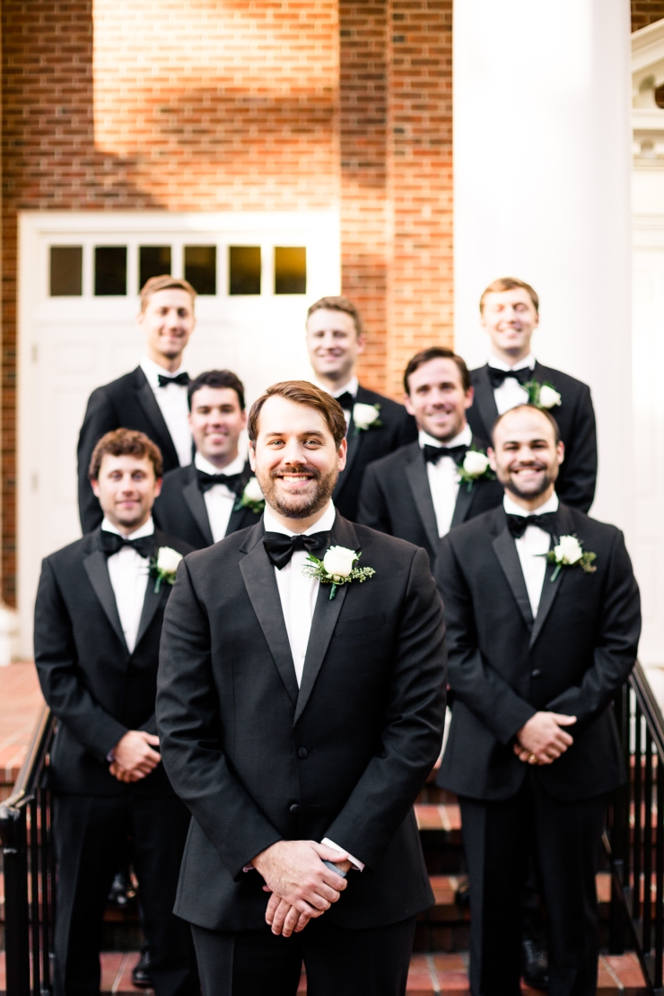 Groom and groomsmen on steps of church, memphis tn wedding