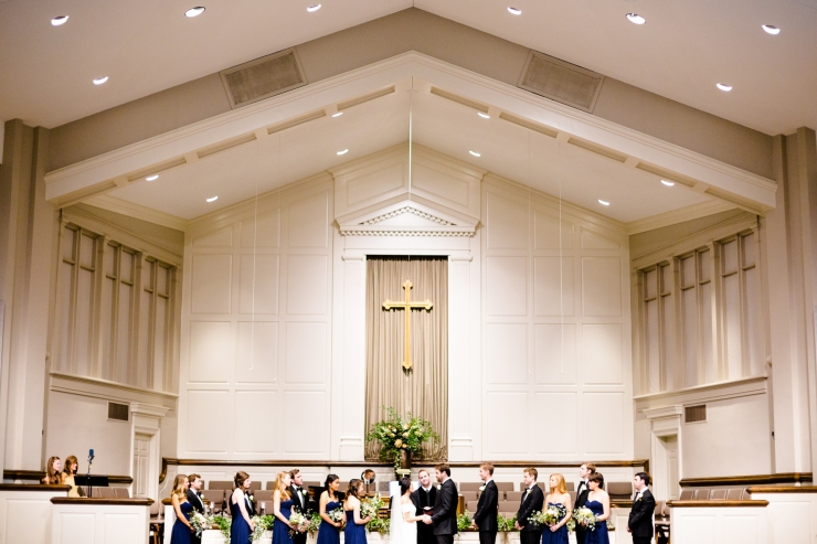 Bride and groom say vows in church ceremony, ceremony, memphis TN wedding