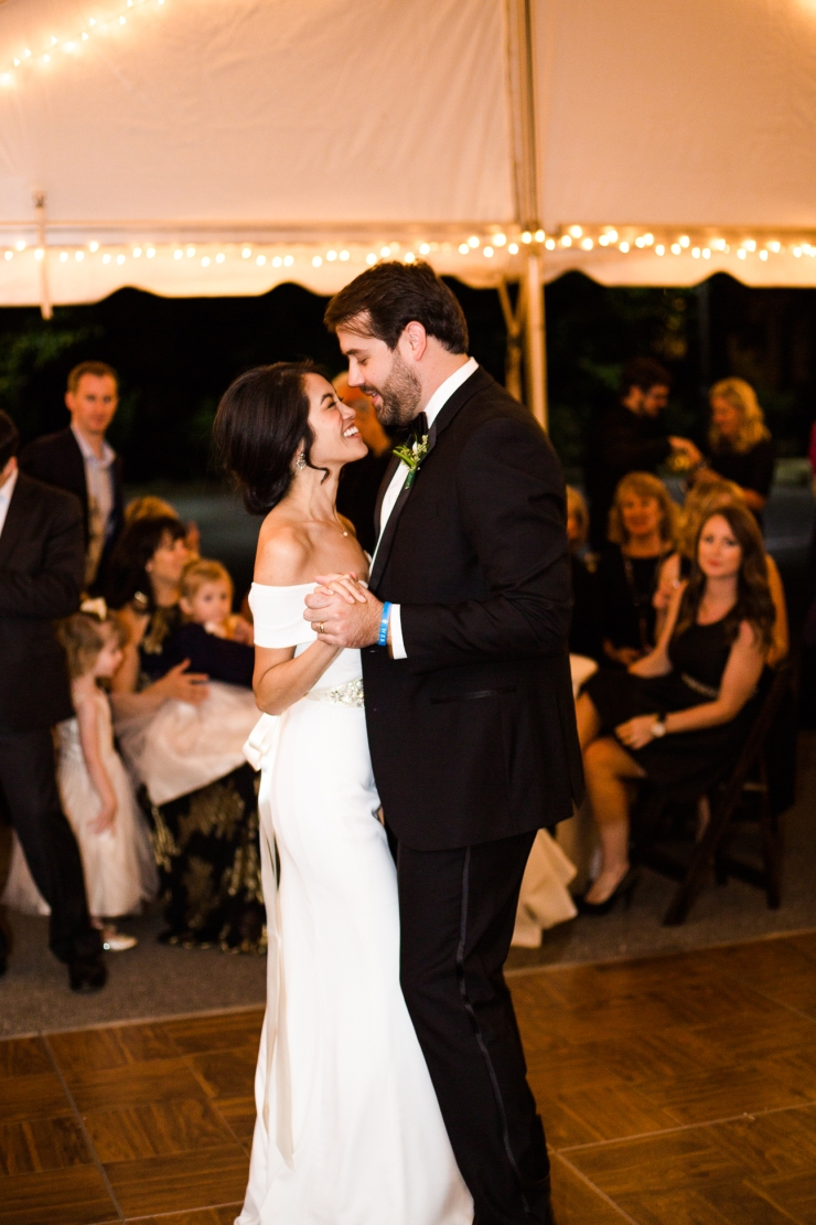 bride and groom's first dance at tented reception, memphis TN wedding