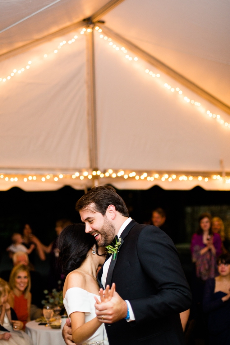 portrait of bride and groom's first dance at tented reception, memphis TN wedding